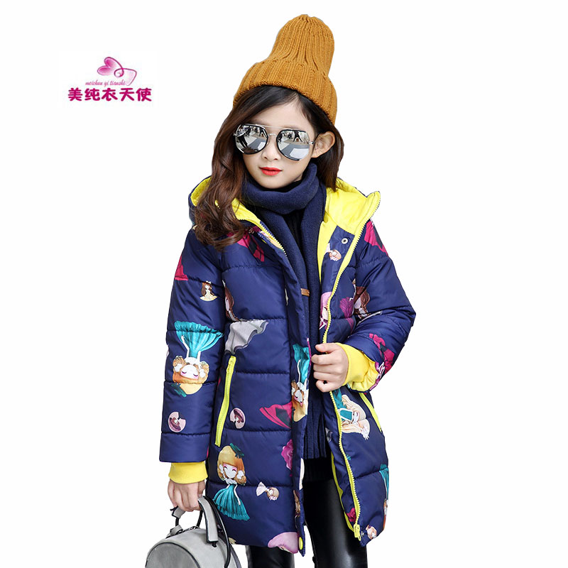 Winter Girls Hooded Jacket Fashion Long Sleeve Cartoon Printed Parkas Warm Winter Coat For 4 6 8 10 12 Years Children Outerwear fashion girls winter coat long down jacket for girl long parkas 6 7 8 9 10 12 13 14 children zipper outerwear winter jackets