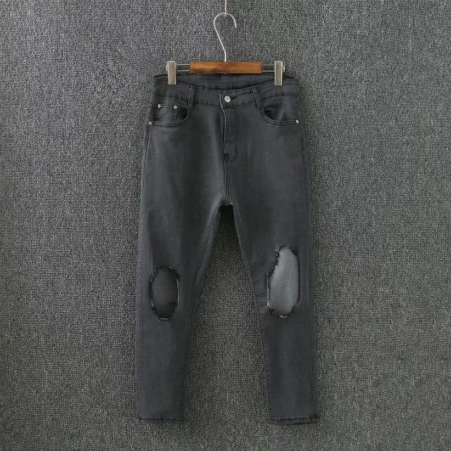 Jeans S72 Autumn Winter Plus Size Women Clothing Jeans 3xl Casual Holes High Waist Stretch Denim Pencil Pants 7051 Bottoms