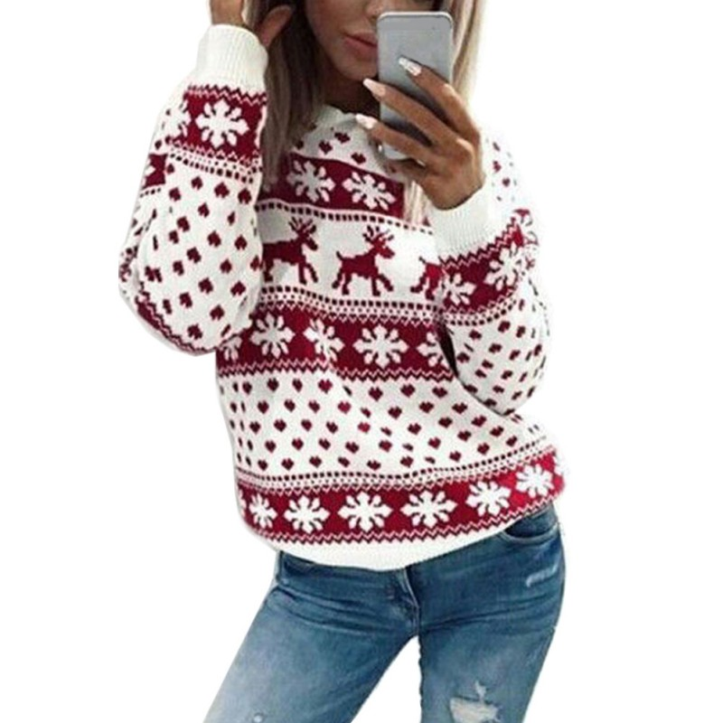 8fe5399bcf8072 Novelty Christmas Tops Autumn Long Sleeves O-neck Female Sweaters Clothing  Womens Ladies Xmas Jumper Top Sweater Ladies Women