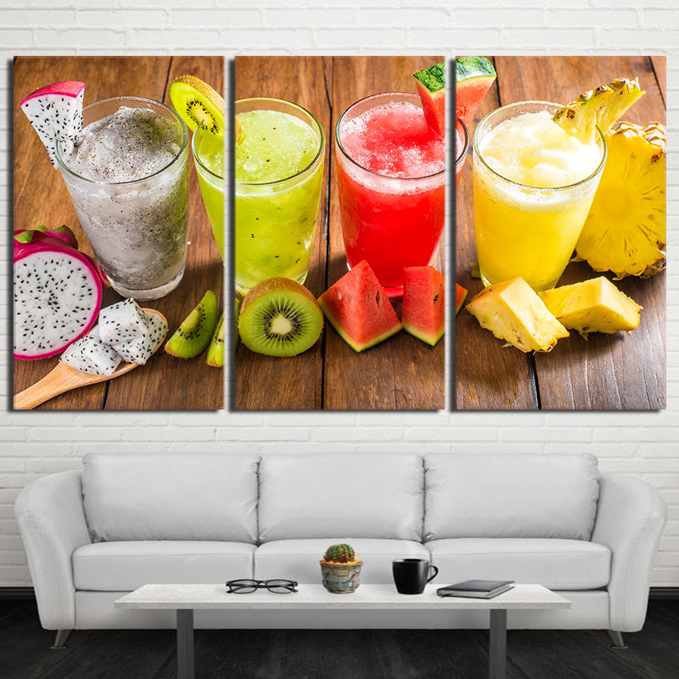 Canvas HD Prints Poster Restaurant Decor Kitchen 3 Pieces Shaved Ice Drink Painting Wall Art Fruit Food Juice Pictures No Framed