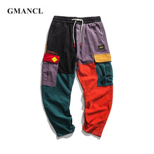 Men Hip Hip Vintage Patchwork Corduroy Cargo Pants Harem Joggers Sweatpants Multi-pocket Harajuku streetwear jeans Trousers(China)