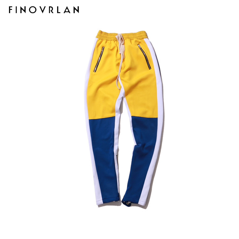 2018 Long Pant Tight Men Sweatpant Slim Fit Color Patchwork Men Hip Hop Side Striped Jog ...