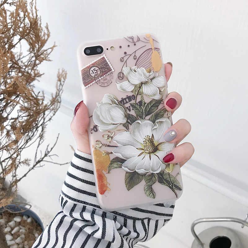 3d caso floral para iphone x xs max xr 7 8 plus silicone feminino cores capa de luxo para iphone se 5S 5 6s 6