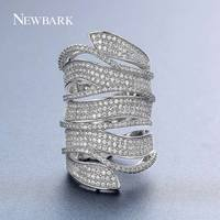 NEWBARK Brand New Big Long Rings For Women Cubic Zirconia Silver Color Full Finger Ring Knuckle