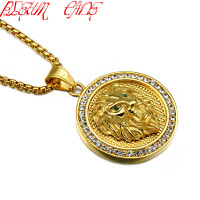 BLEUM CADE Brand Animal Lion Head Pendant Necklace Zircon Stainless Steel Round Shape King Spirit Necklace