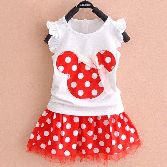bc285ce59f8 2018 New 2Pcs Set Toddler Handheld Baby Girls sets vest tank T-shirt+skirt  Kids Princess Party Dress Dot Dresses 1-3 years