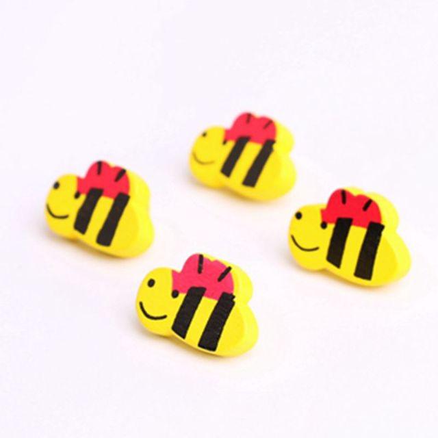 Telas Cierre de madera pequeña abeja botón natural 50 unids 13*20mm ...