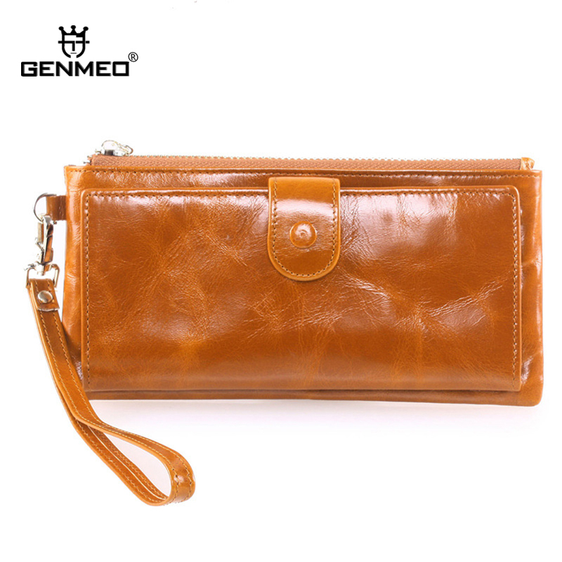 MAIFEINI New Arrival Vintage Genuine Leather Wallets Women Card Holder Purse Sexy Lady Clutch Money Bag Long Leather Wallet vintage women oil leather wallets ms long coin purse fashion zipper lady clutch money bag card holder page 9