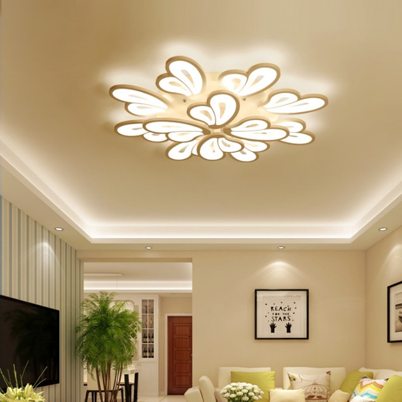 Free Shipping New Design Acrylic Leaves Led Ceiling Lights For Living Study Room Bedroom lampe plafond avize Indoor Ceiling Lamp in Ceiling Lights from Lights Lighting
