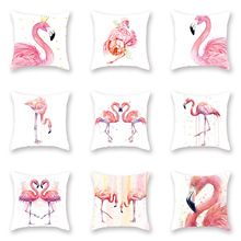 Nordic Fresh Cushion Cover Pink Flamingo Watercolor Pillow Case for Sofa Bed Living Room Decorative Home Decor Soft Covers 45x45 цены