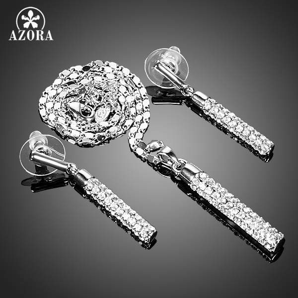 AZORA Elegant Clear Stellux Austrian Crystals Paved Drop Earrings and Pendant Necklace Jewelry Sets TG0216