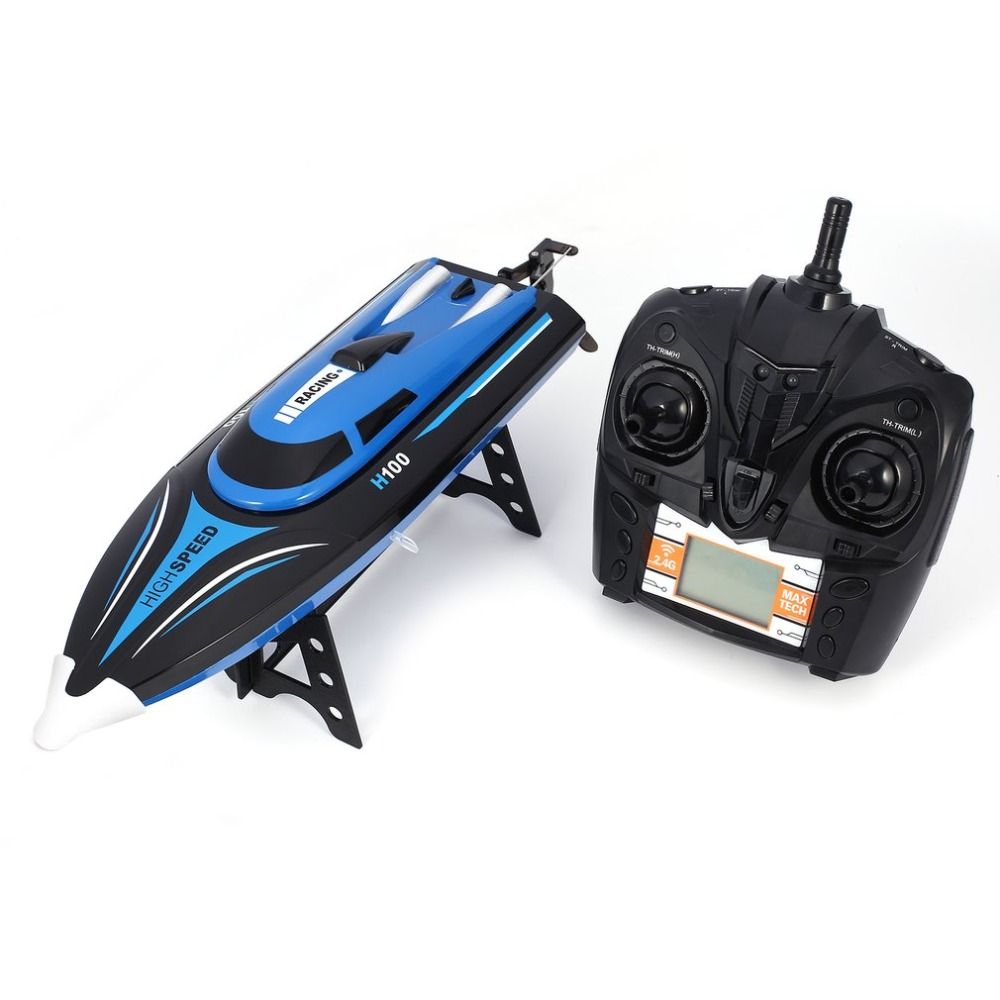 Hot! H100 RC Boat High Speed Racing 20km/h Remote Control Boat 180' Flip with LCD Screen as Gift for Children Toy RC Racing Boat lcll rc boat radio remote control twin motor high speed boat rc racing toy gift for kids eu plug