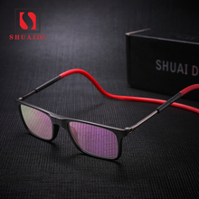 Upgraded Unisex foldable Magnetic Reading Glasses Men Women Adjustable Hanging Neck Folding Glasses Front Connect with magnet