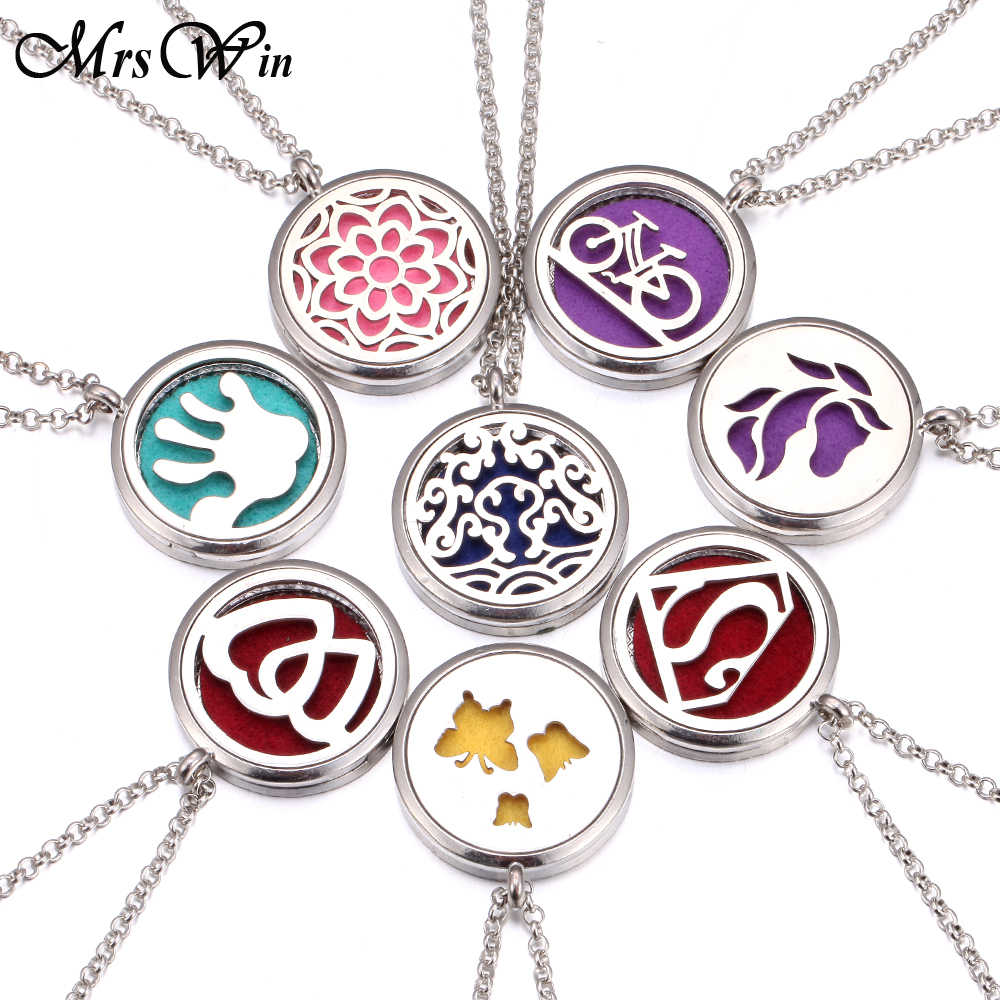 New Aromatherapy Necklace 25 Designs Silver Locket Essential Oils Diffuser Necklace Stainless Steel Perfume Pendant Necklace