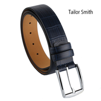 Tailor Smith Mens Luxury Designer High Quality Top Grain Genuine Leather Belt Blue Crocodile Classical Formal