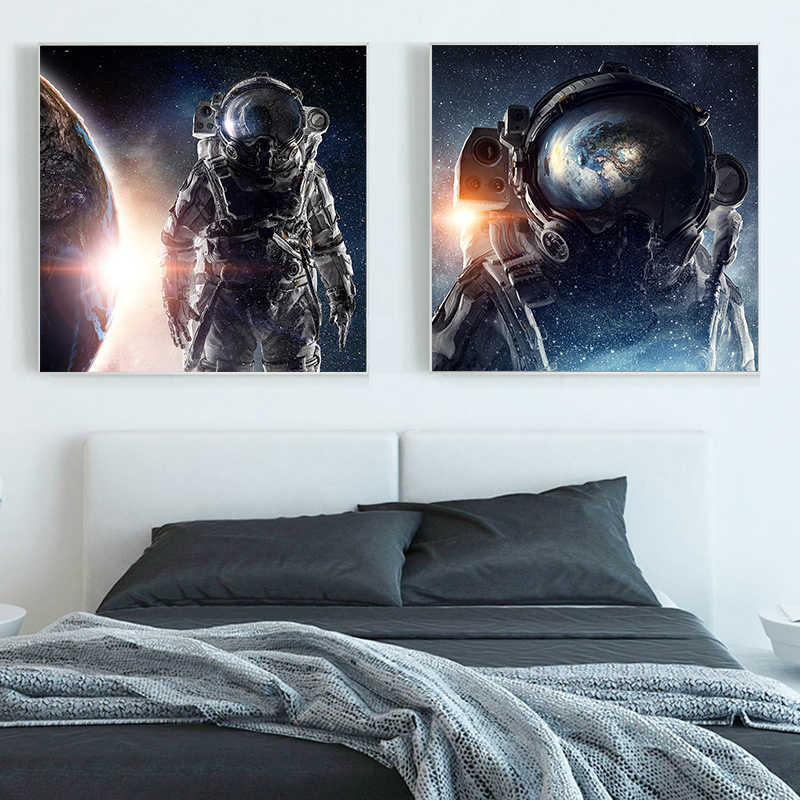 Modern Space Planet Canvas Painting posters and prints Astronaut canvas wall art Pictures For Living Room Bedroom Unique Decor