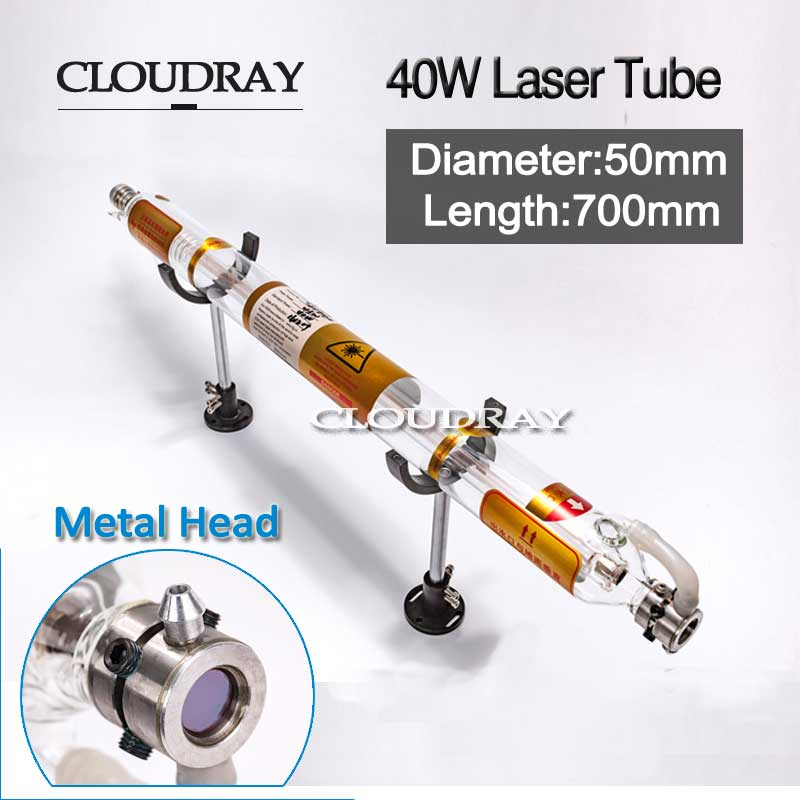Cloudray 40W Laser Tube Glass Metal Head 40W 700MM Diameter 50mm For CO2 Laser Engraving Cutting Machine co2 laser engraving tube 60w diameter 55mm l1200mm glass head laser lamp for cutting marking machine