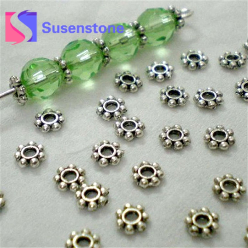 Fit Women Men DIY Bracelets Findings 200pcs/Lots Daisy Spacer Metal Beads 4mm Jewelry Making Bracelets Wholesale Gold Silver