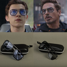 SpiderMan Tony Stark Glasses With Box Ediath Cosplay Prop Spider-Man Far From Home Peter Parker Sunglasses Iron Man Sun