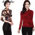 Primavera y Otoño nueva gran tamaño de manga larga floral cuello de POLO camisa de la señora