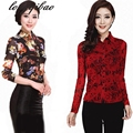 Spring and Autumn new large size long-sleeved floral POLO collar lady shirt