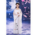 Classic Antiquity White Women's Little Dragon Clothes Ancient Chinese Hanfu Zither Female Dress Performance Bodysuit Costume