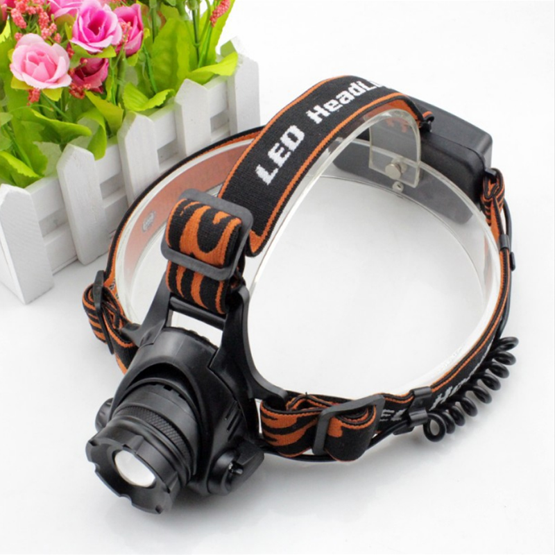 LED  XM-L T6 L2 Chips  Rechargeable Zoom Head Light Lamp  3-Mode Zoom Headlight Waterproof Head Torch