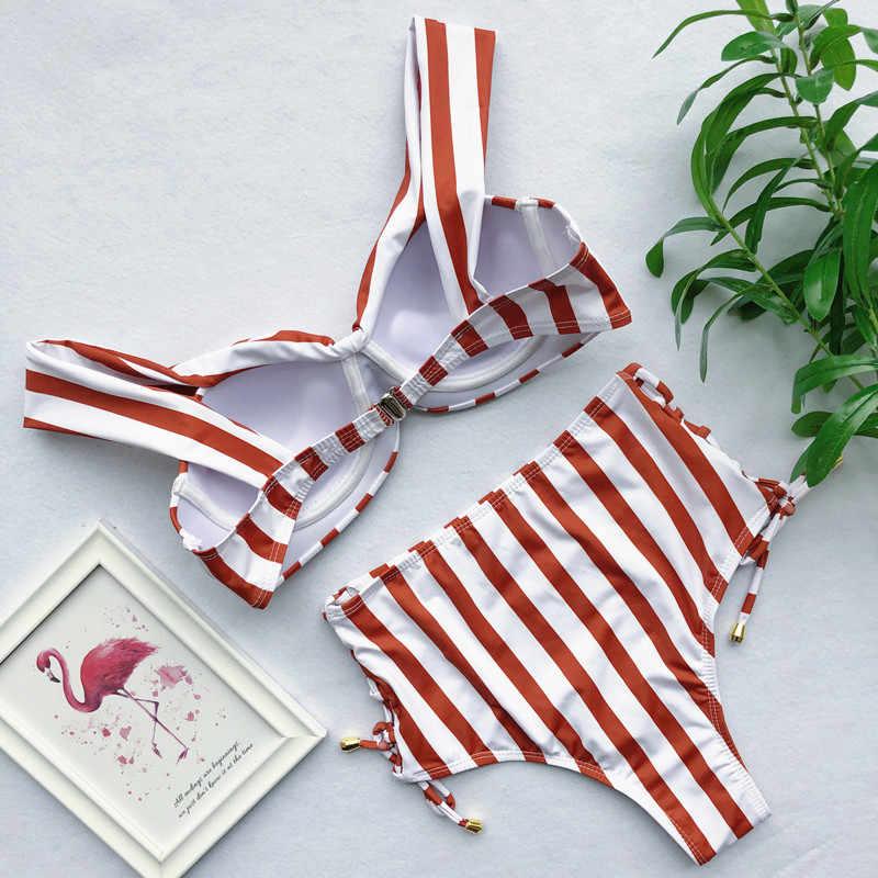 Sexy wysoka talia Bikini 2019 Bandeau stroje kąpielowe kobiet wzburzyć strój kąpielowy w paski kobiety strój kąpielowy nowy Maillot De Bain Femme pływać