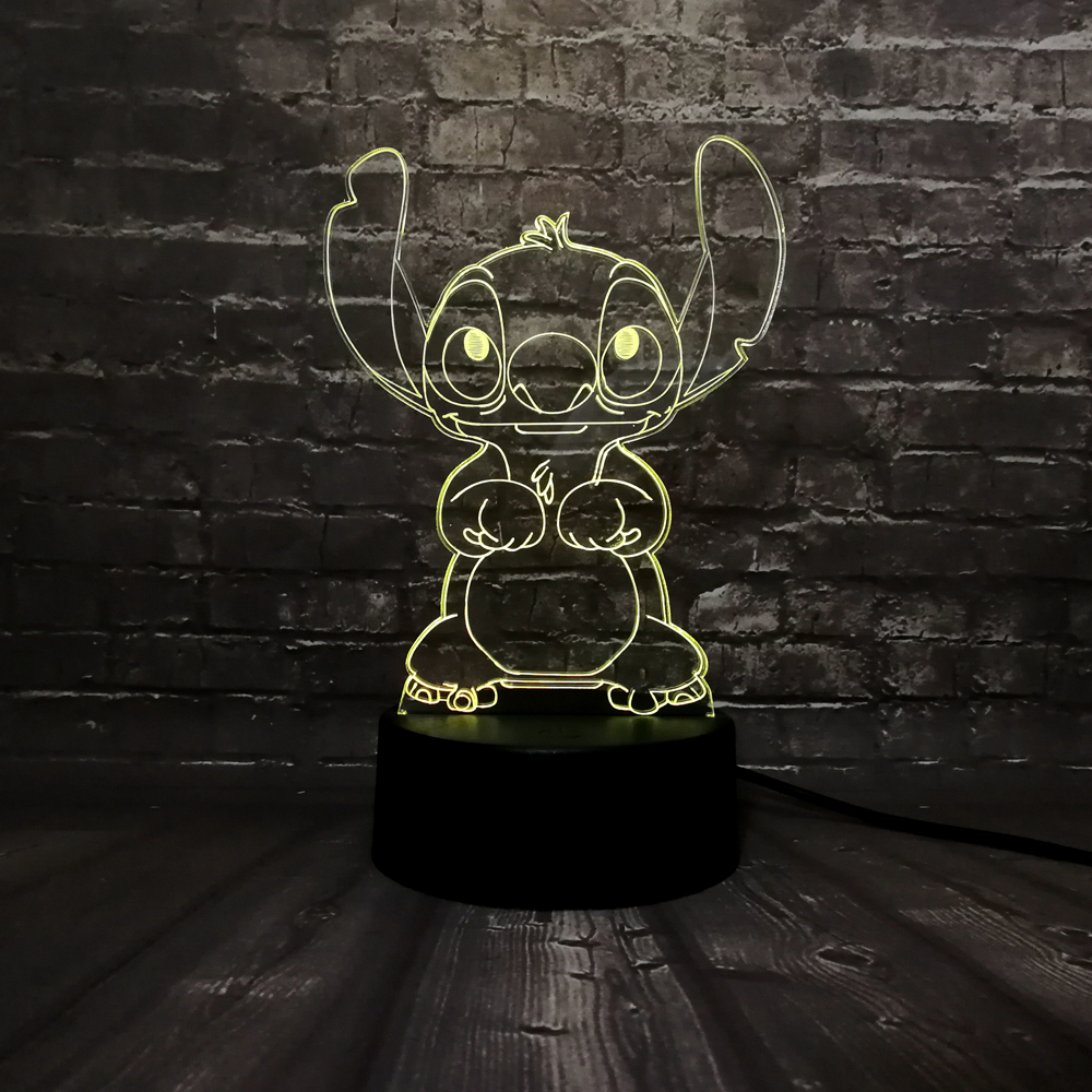 New Lava Cute 3D LED Acrylic Cartoon Stitch Children Room Decor Mood Desk USB 7 Color Change Night Light Birthday Kids Gift Toy image