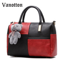 Bear Pendant Pillow Handbags Tote Boston Bag for Women Fashion Leather Evening Clutch Shoulder Bag Ladies Ladies Messenger Bags