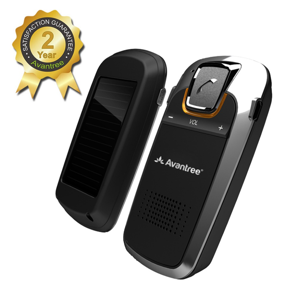 Avantree SOLAR Charging Bluetooth Hands Free Visor Car Kit, for Handsfree Call, GPS, Music, Wireless In-Car Speakerphone