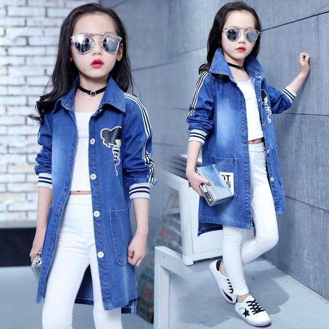 Весенняя одежда, джинсовое пальто для девочек, джинсовые куртки, детская верхняя одежда с героями мультфильмов, Детская осенняя одежда для активного отдыха, Длинный плащ-Тренч для подростков