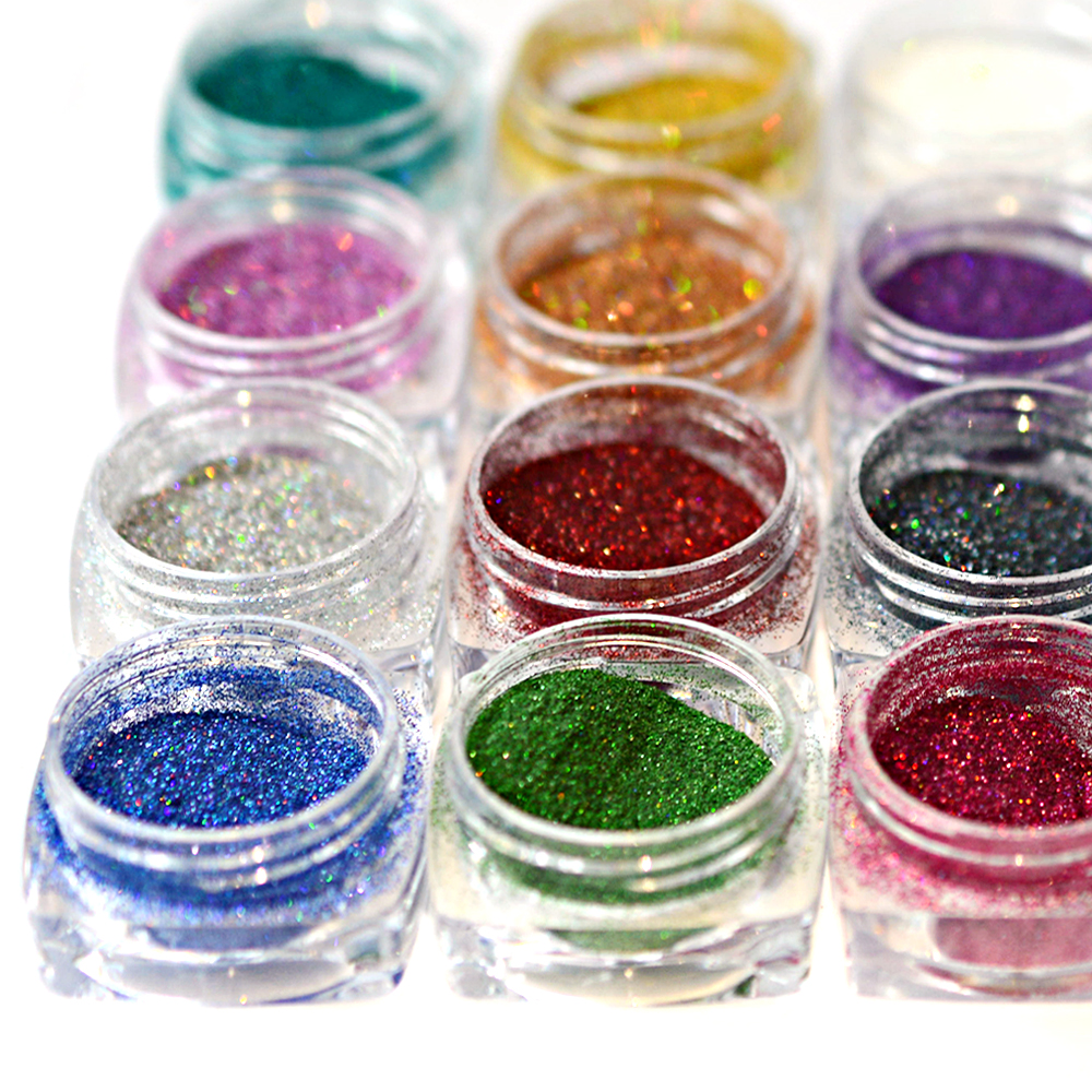 Extra Fine Holographic Chrome Nail Art Powder: 1pcs Holographic Laser Ultra Fine Nail Glitter Powder Dust