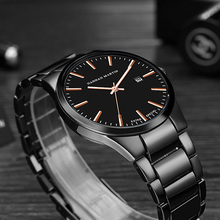 Stainless Steel Men's Quartz Watch Business Casual High Quality Wristwatches Waterproof Golden Black Luxury Watches for Men xfcs 50cm high night stands black and golden bedside table stainless steel with golden varnish