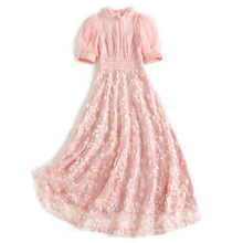 Новые осенние длинные платья короткая с рукавом-фонариком сетка вышивка стоячий воротник повседневное розовое платье