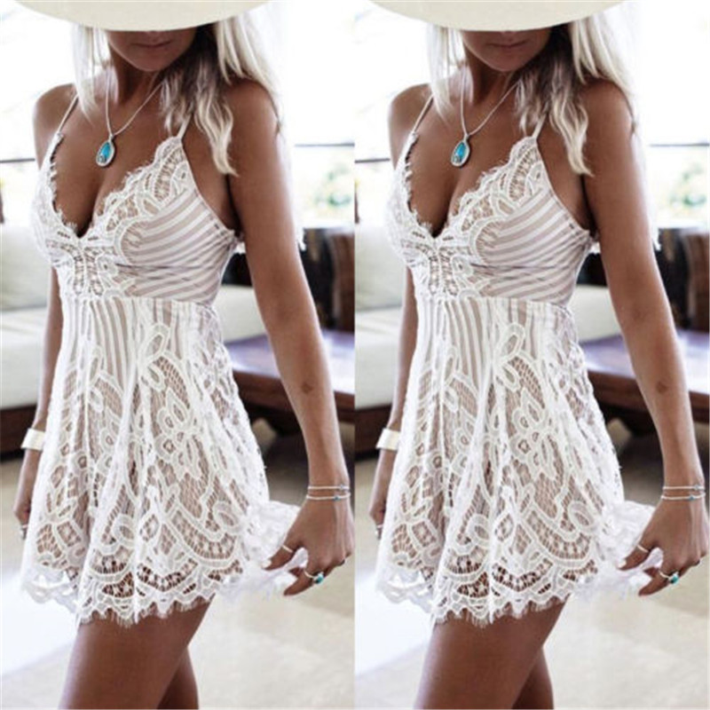 US Fashion Women <font><b>Sexy</b></font> Spaghetti Strap Lace Mini <font><b>Dress</b></font> New Summer Ladies Casual Loose <font><b>White</b></font> Beach <font><b>Dress</b></font> image
