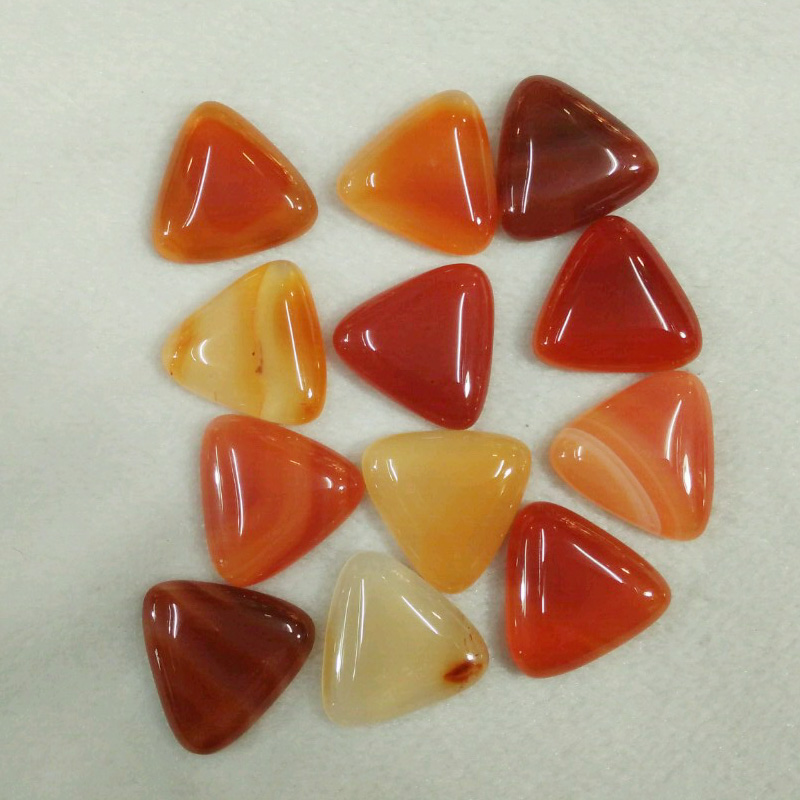 2017 fashion natural red onyx triangle cab cabochon beads for jewelry Accessories making 25mm wholesale 12pcs/lot free shipping