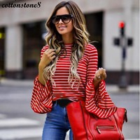 Autumn T-Shirt Women T Shirt Pullover Tops 2017 Casual Striped Women's T-Shirt Full Flare Sleeve O Neck Loose T Shirts Plus Size