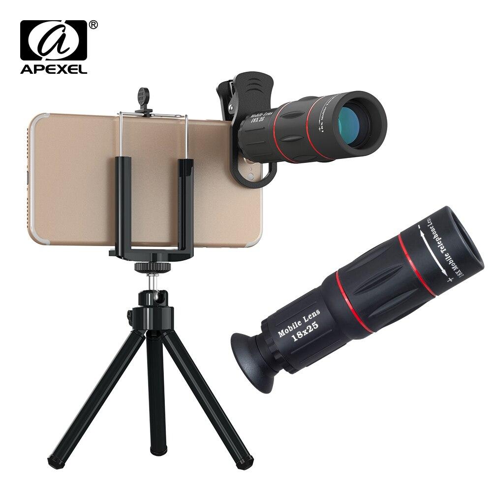 APEXEL 18X télescope Zoom téléphone portable objectif téléobjectif Macro caméra objectifs universel Selfie trépied avec Clip pour tous les smartphones