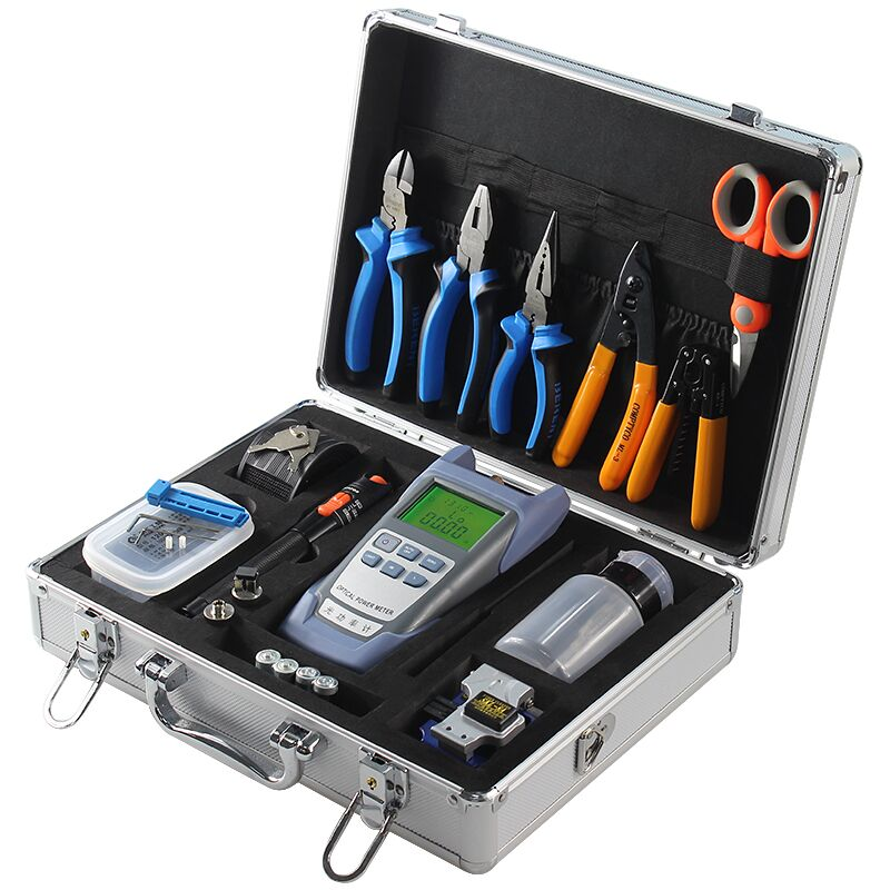 Fiber Optic FTTH Tool Kit With SKL-8A Fiber Cleaver And Optical Power Meter 10MW Visual Fault Locator Wire Stripper Toolbox Set