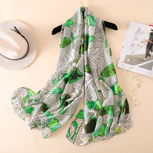 New silk scarf women Lotus leaf flower pattern shawl wrap elegant foulard bandana top quality travel pashmina hijab femme