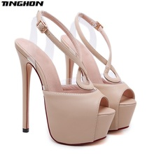TINGHON  Sexy Women Sandals Thin Heel Hollow out Buckle Strap Ankle Strap 16cm High Heel Sandals Platform Shoes Party Pumps цена и фото