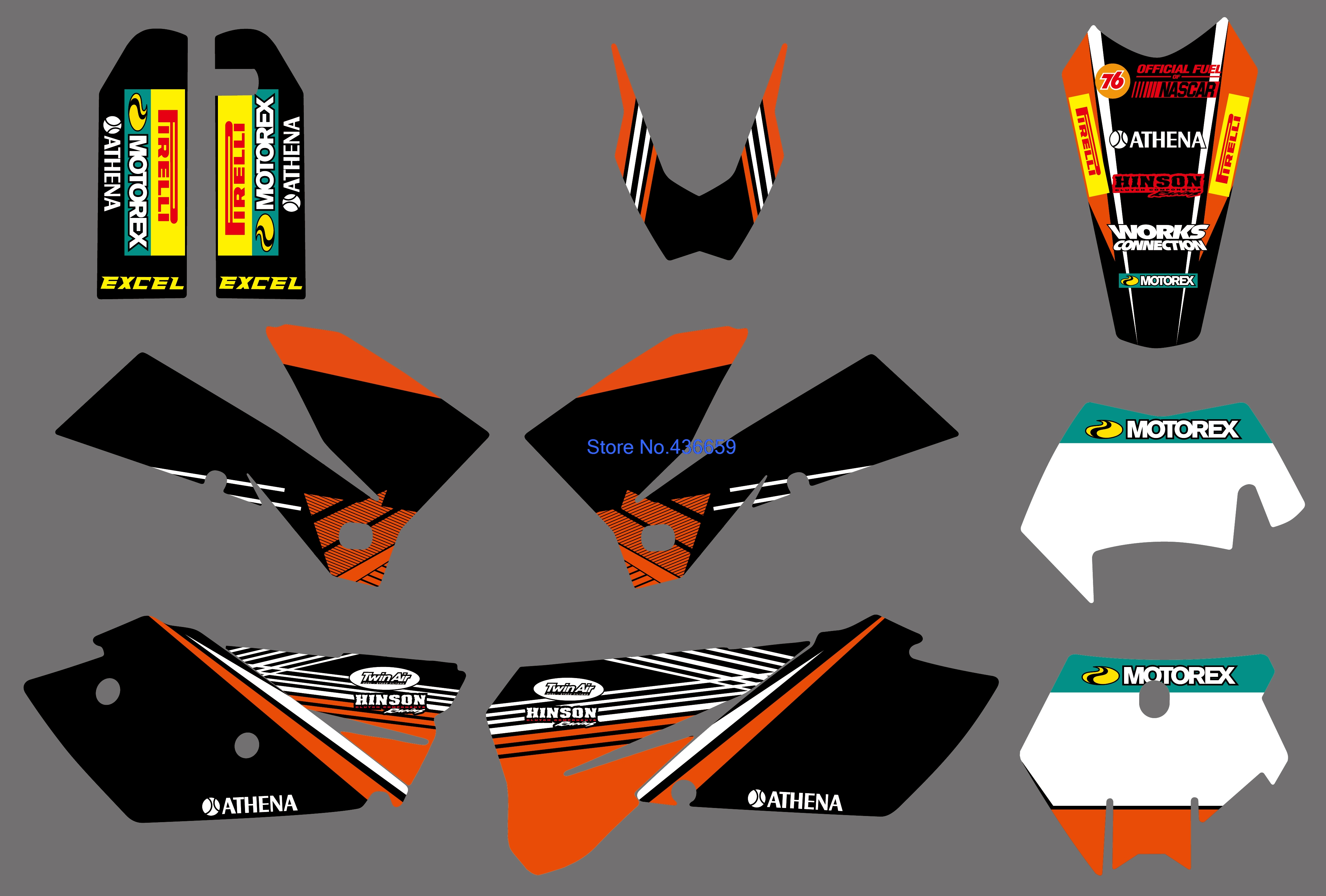 0270 GRAPHICS WITH MATCHING BACKGROUNDS Sticker For KTM 125 200 250 300 450 525 SXF MXC SX EXC XCW XCF Series 2005 2006 2007 0322 star new team graphics with matching backgrounds fit for ktm sx sxf 125 150 200 250 350 450 500 2011 2012
