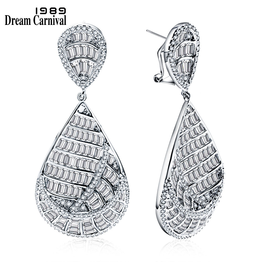 DreamCarnival 1989 Superior Luxury Women Wedding Party Design Big Drop Dangles Channel setting White CZ 7cm
