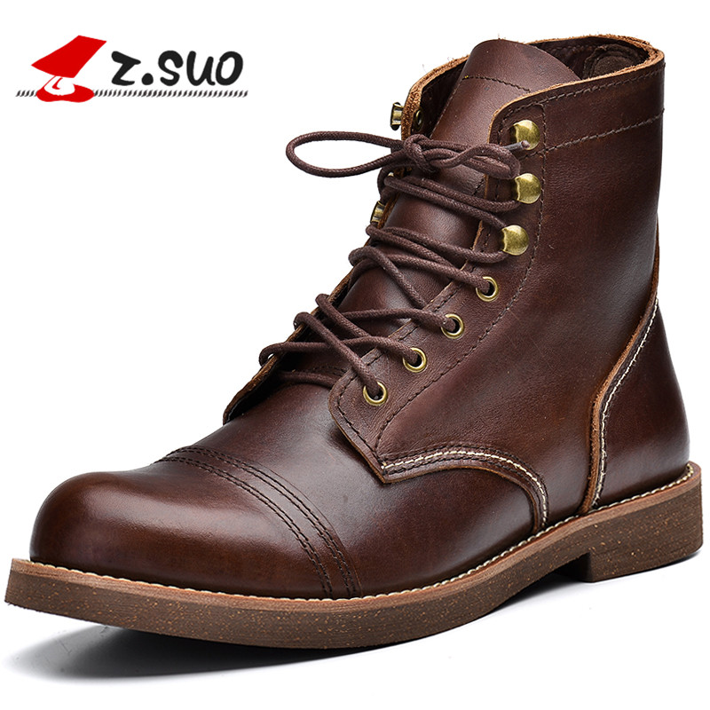 Z. Suo Men Skateborading Shoes Genuine Leather High Top Fashion Classic Brown Black Sneakers Casual Outdoor ShoesZ. Suo Men Skateborading Shoes Genuine Leather High Top Fashion Classic Brown Black Sneakers Casual Outdoor Shoes