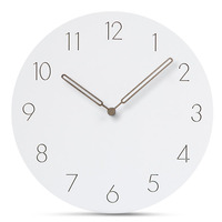 Europe Wooden Wall Clock Modern Design Digital Wall Clock Silent Decorative Wall Clock White Round Hanging