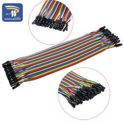 40 stücke in Reihe Dupont Kabel 20cm 2,54mm 1pin 1 p-1 p Buchse auf Buchse Jumper draht für Arduino breadboard