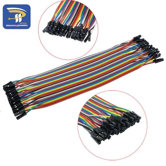 40 stücke in Reihe Dupont Kabel 20 cm 2,54mm 1pin 1 p-1 p Buchse auf Buchse Jumper draht für Arduino breadboard