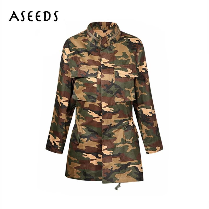 Army Green Camouflage female Jackets women basic coats ...
