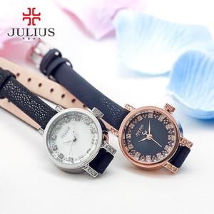 Image 5 - Dame frauen Uhr Julius Japan Quarz Stunden Uhr Mode Leder Armband Shell Strass Geburtstag Mädchen Weihnachten Geschenk